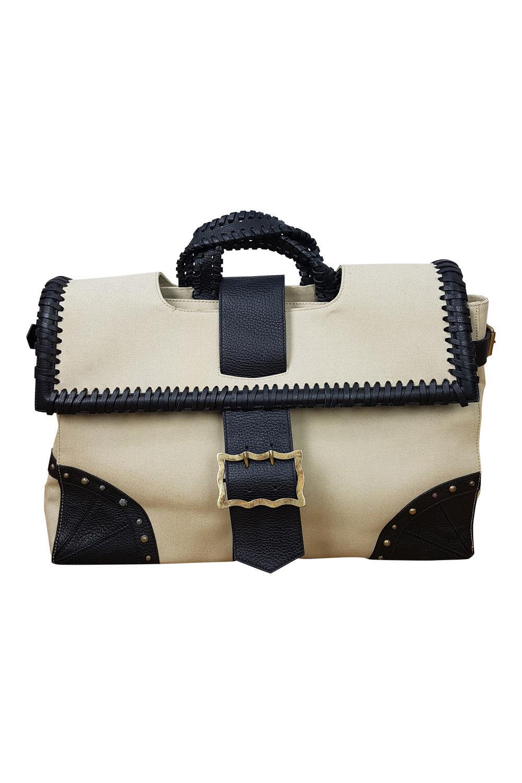 TEMPERLEY LONDON Cream Contrast Canvas Extra Large Laptop Bag (XL)