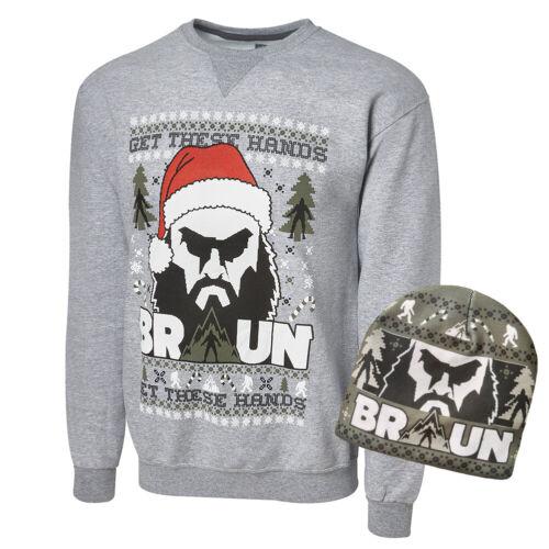Holiday Xmas Sweatshirt /& Hat Size M Braun Strowman WWE Authentic Clothing