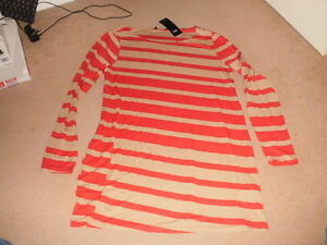 BNWT-ladies-red-amp-sand-stripe-long-length-top-short-dress-size-14-16-FREEPOST