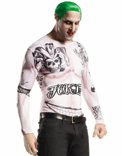 Suicide Squad The Joker Costume Shirt Wig Makeup Kit Mens Dc Comics Std-XL