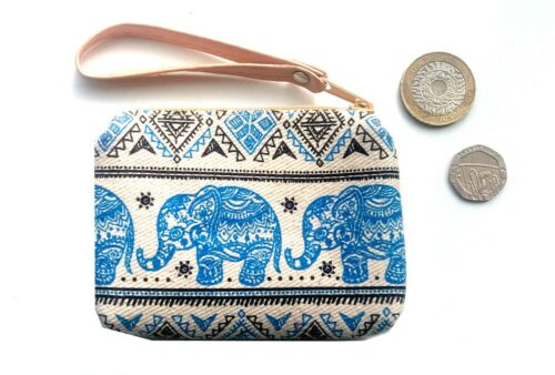 Unbleached cotton coin purse with baby elephant design