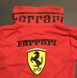 NEW-Ferrari-SF-Kids-Youth-Small-S-Red-Black-Embroidered-Horse-F1-Race-Polo-Shirt