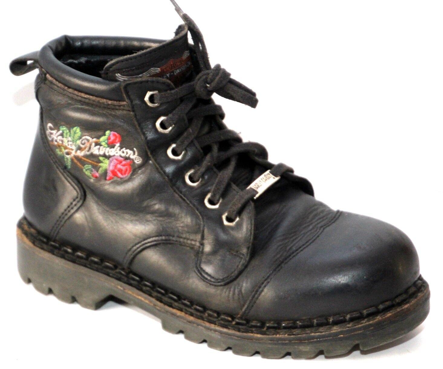 Harley Davidson 28510 black boots Flower Rose size 37  US  6.5   Great
