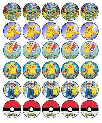 Terrific Pokemon 30 Edible Wafer Paper Cupcake Toppers Birthday Cake Funny Birthday Cards Online Eattedamsfinfo