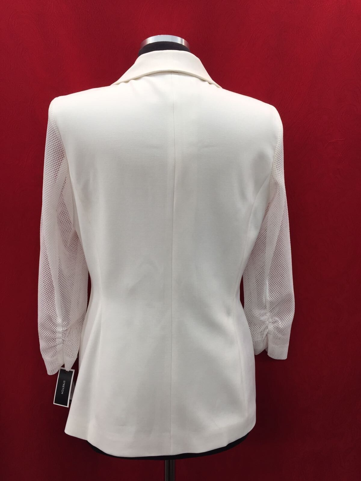 NINE WEST BLAZER NEW NEW NEW WHITE LINED 3 4  SEE THROUGH SLEEVE SIZE 12 RETAIL 129  e833ca