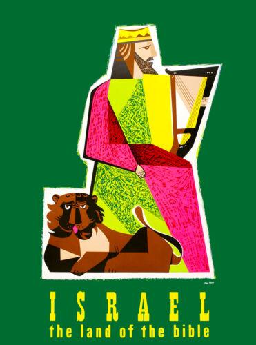 Israel Land of the Bible Tiger Vintage Travel Advertisement Art Poster