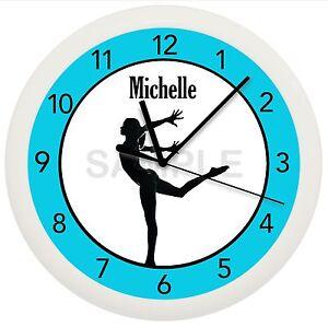 BALLERINA WALL CLOCK BALLET PERSONALIZED TEAL TURQUOISE DANCER STUDIO DANCE GIRL