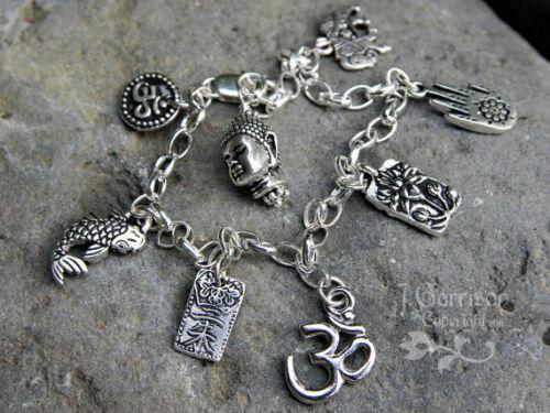 heavy sterling silver chain Deluxe Eastern Philosophy Silver Charm bracelet