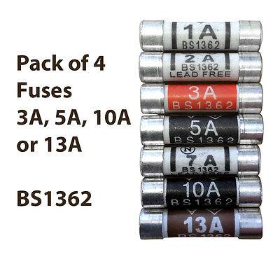 3//5//10//13 AMP Plug Top Fuses Pack of 4 BS1362