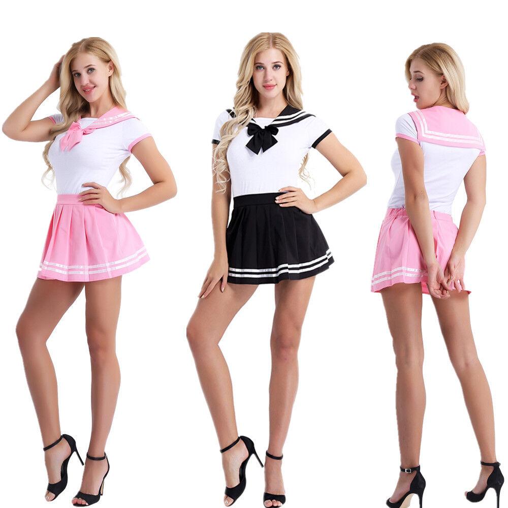 Adult Japan Cosplay Sailor School Girl Uniform Skirt Set Costume Fancy Dress