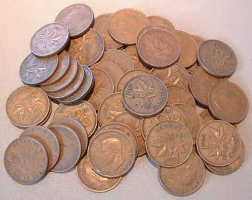 CANADA  1 CENT 1942  VG to F ****50 pcs lot*****