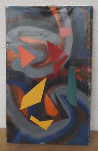 """"""" Composition Abstraite Collage 18 """" Huile / Acrylique / Lwd Atrribution Prix De Rue"""