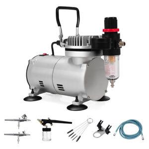 Professional-Airbrush-Compressor-Kit-Spray-Gun-Hose-Air-Brush-Paint-23L-1-6-HP