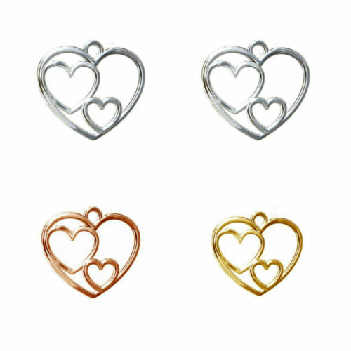 Sterling Silver Triple Heart Pendant 19mm 18K Rose Gold Plated 24K Gold Plated