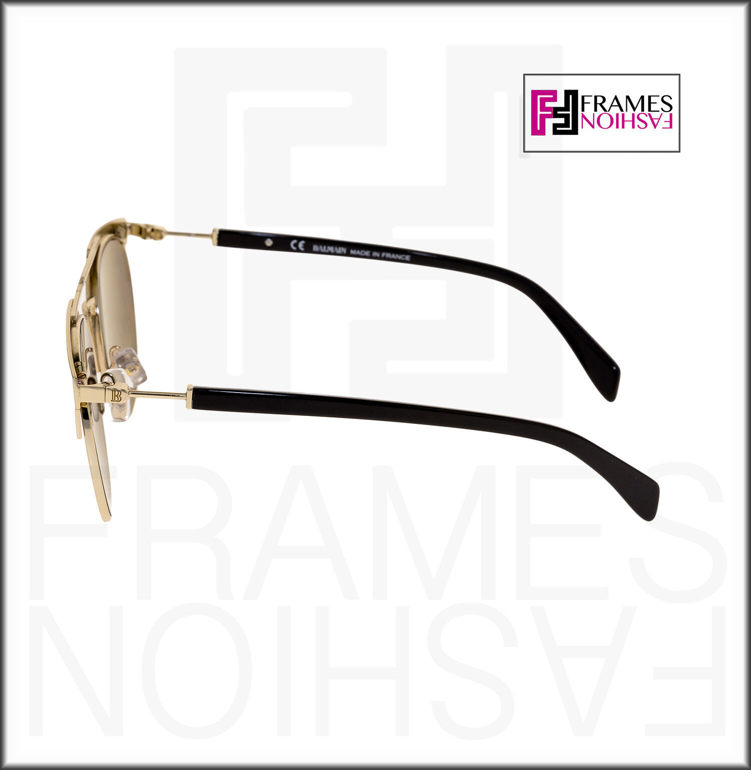 1e4b5493d5 Balmain BL 2109 Black Gold Flash Mirror Clubmaster Metal Sunglasses ...