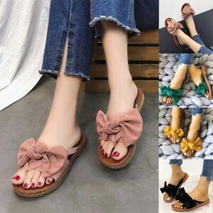 Summer-Women-Bow-Espadrilles-Slipper-Slip-on-Flat-Sandals-Comfy-Beach-Flip-Flops