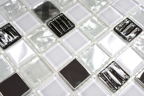 Mosaik Fliese selbstklebend Transluzent Edelstahl weiß Glas 200-4CM241 Matte