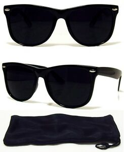8762af08b21 Dark BLACK Lens Sunglasses Vintage Retro Aviator Men Women Classic ...