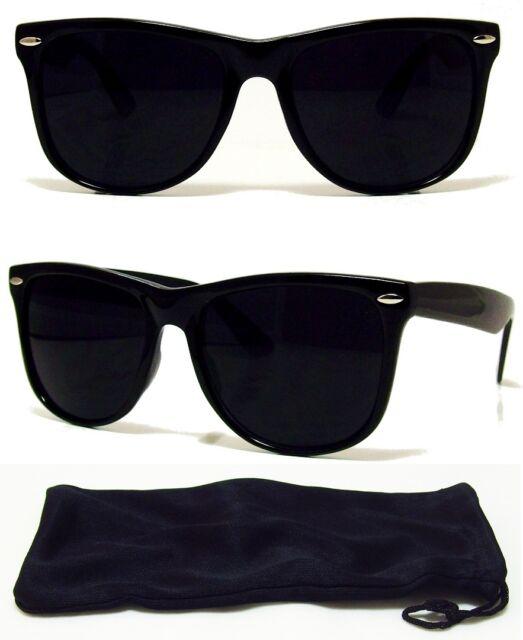 Dark BLACK Lens Sunglasses Vintage Retro Aviator Men Women Classic Frame Glasses