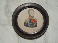 Dessin aquarelle portrait Le grand Gourgaud Empire Napoleon 19eme