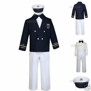 cfa631fcf3c6 Baby Boys Toddler Nautical Captain Sailor Suits Wedding Formal ...