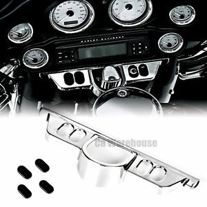 Motorcycle Black Batwing Switch Dash Panel Accent Cover For Harley Touring 14-17