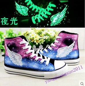 Ladies Sneakers Womens Luminous Canvas Lace Up High Top Scrawl Wing Tip Shoes