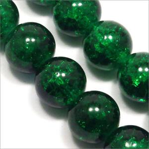 Lot-de-20-Perles-Craquelees-en-verre-12mm-Vert-fonce
