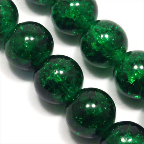 Lot of 20 Beads Cracked Glass 12mm Dark Green