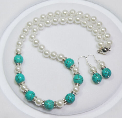 8-10mm White Akoya Shell Pearl /&Turkey Turquoise Beads Necklace Earrings Set AAA