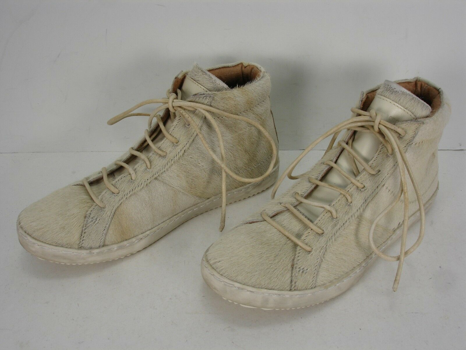 ONE X ONE TEASPOON BEIGE PONY HAIR LACE UP MID TOP SNEAKERS SHOES WOMEN'S 40