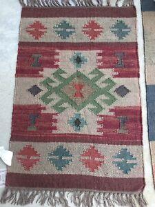 Image Is Loading Nwt Southwest Design Pattern Kilim Rug Jute Wool