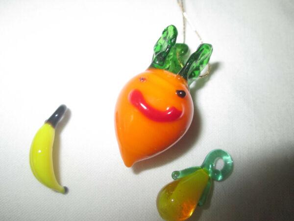 3 St. Glasfiguren Deko: Ca. 50 Jahre Alt Je 1 Banane , Karotte Und Birne