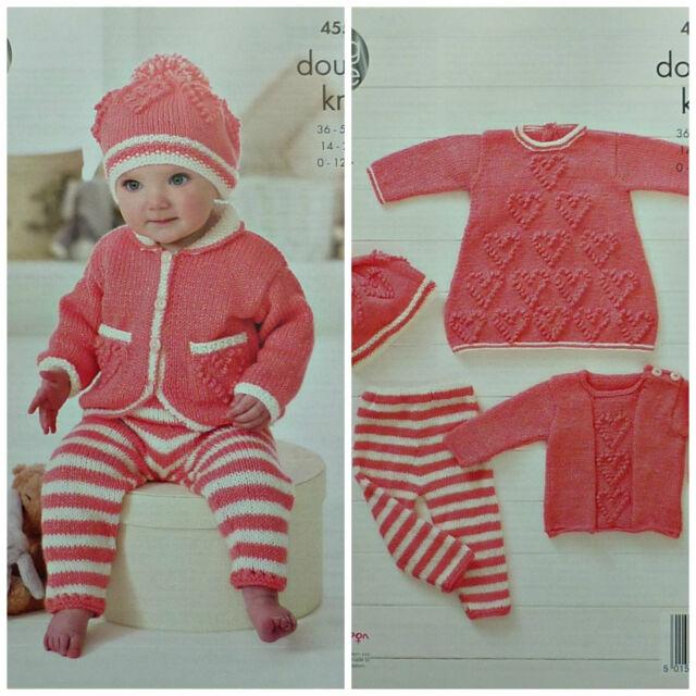 King Cole Baby DK Knitting Pattern Heart Motif Dress Sweater Leggings Hat 4555