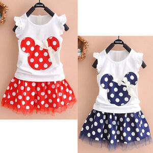 7077c2e96 2Pcs Toddler Baby Girls Kids Princess Party Mickey Mouse Dress Dot ...
