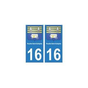 16 Roullet-saint-estèphe Ville Autocollant Plaque - Angles : Droits