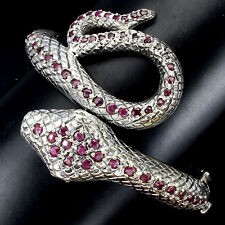 239 CTS! OUTSTANDING! NATURAL RED PINK RUBY 925 SILVER COBRA BANGLE BRACELET