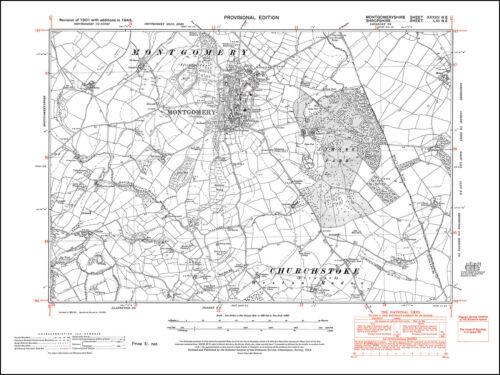 37NE repro Wales old map Montgomery 1948 Montgomery