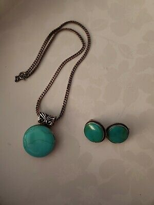 Vintage Silver and Turquoise Heishi Necklace with Pierced Earrings Necklace Set