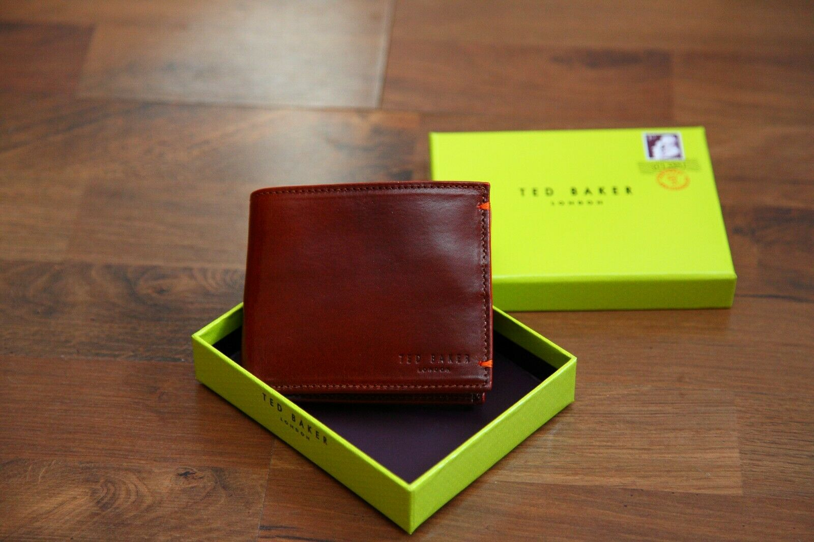 Ted Baker Douglex Edge paint Bifold Tan Leather Wallet BNWT