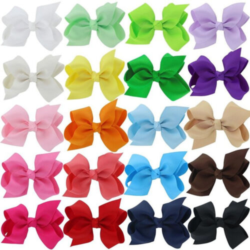 "30 Pcs 6/"" Baby Girls Huge Grosgrain Ribbon Boutique Hair Bows Kids Hair Clip"