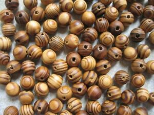 200-Wood-Burly-Natural-Beads-8mm-Brown-Wooden-Jewellery-Making-Crafts-MY