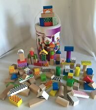 Eichhorrn Wooden Color Blocks 100 Piece Shape Sorter Bucket