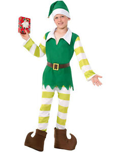 40fb61928f25 Elf Costume Santa Claus Helper Childs Christmas Halloween Costume