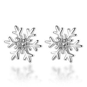 Snowflake-Crystal-Stud-Earrings-925-Sterling-Silver-Womens-Girls-Xmas-Jewellery