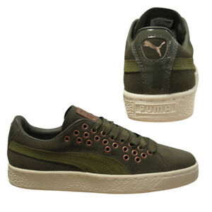 668b92073b2ee5 Puma Suede XL Lace VR Womens Olive Green Low Top Trainers 364107 02 ...