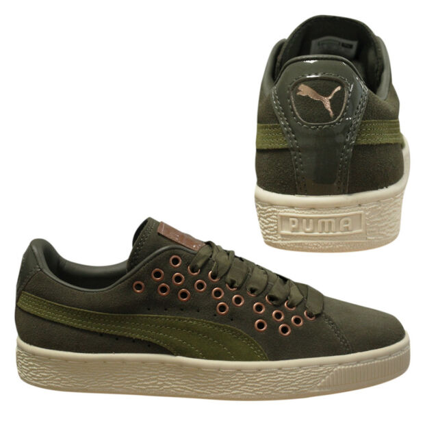 286365a604d Puma Suede XL Lace VR Womens Olive Green Low Top Trainers 364107 02 B8