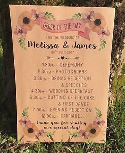 Rustic poppy collection order of the day sign wedding itinerary image is loading rustic poppy collection order of the day sign junglespirit Image collections