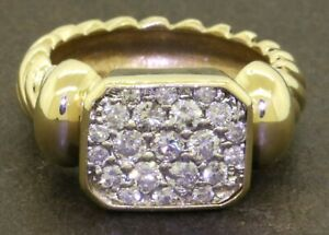 Heavy-14K-gold-elegant-70CTW-diamond-cluster-cable-cocktail-ring-size-6-25