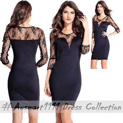 Lace Long Sleeve Deep V Neck Little Black Dress Sexy Stretch Bodycon Formal Wear